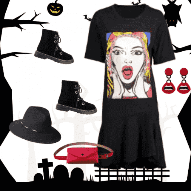 Fantastic outfit for coming Halloween! Unusual earrings perfectly fit with the print on the dress :) I…