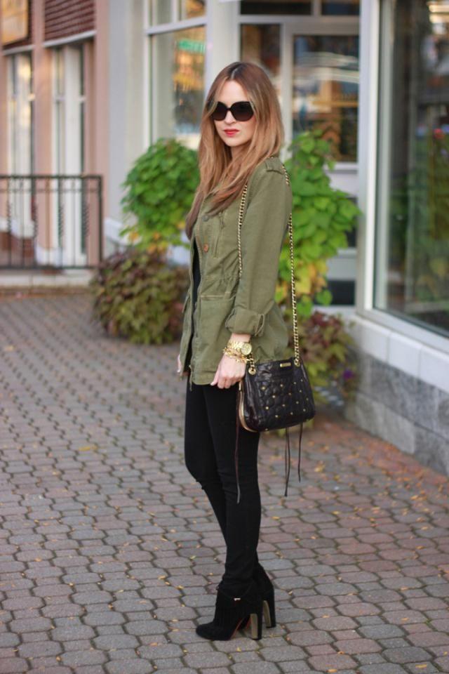Coat  Fern Green  And Skinny Pants Black