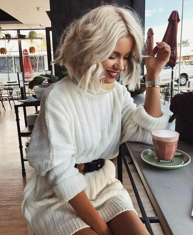 If you are looking for a classy chic outfit you can try this white sweater dress