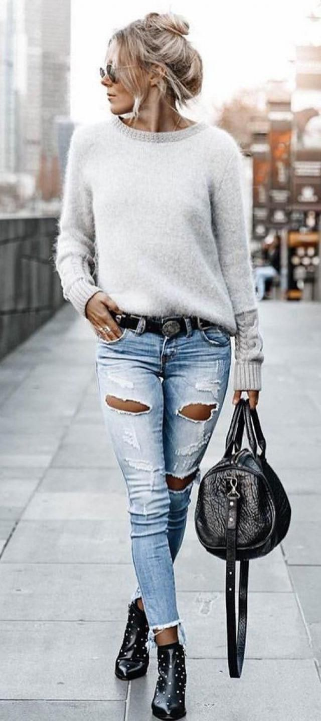 Sweater  White And  Jeans  Denim Blue