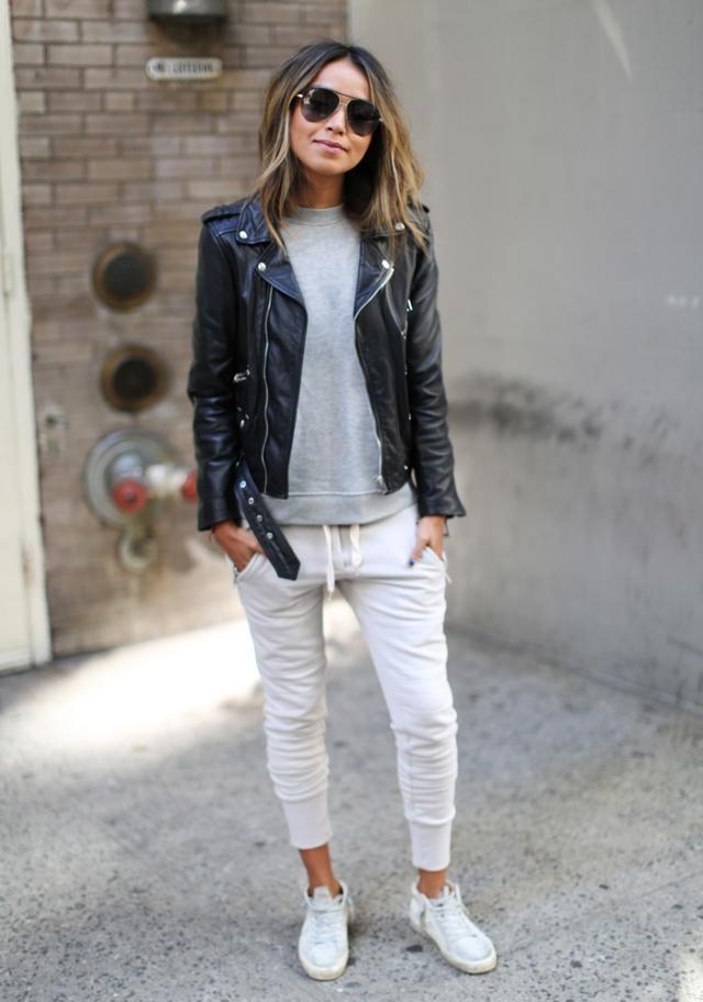 Marled Drawstring Sports Pants and Black Jacket
