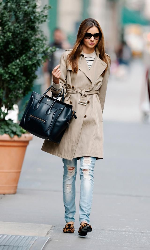 Striped Long Sleeve Tee And Belted Coat