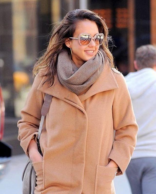 Lapel Open Front Wool Blend Coat Light Brown