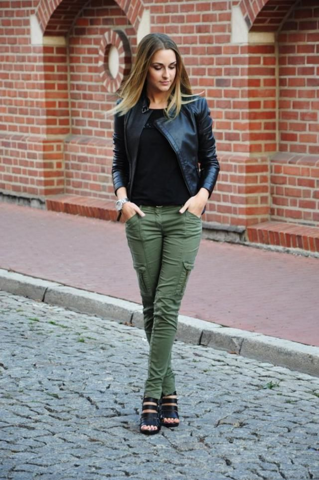 Olive Green Flap Pockets Pants and Leather Black Jacket
