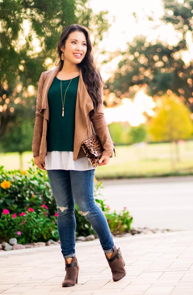 Skinny Distressed Jeans and Fleece Open Front Jacket