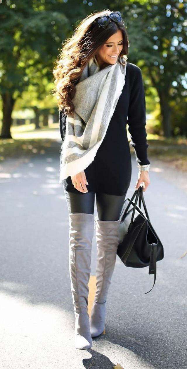Ribbed Long Sleeve Bodycon Dress Black