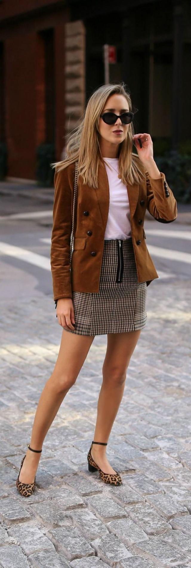 Jacket Brown And Mini Skirt