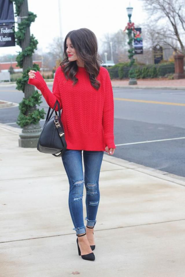 Raglan Sleeve Cable Knit Chunky Sweater  Red