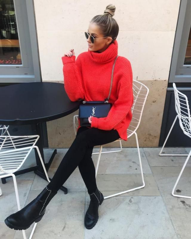 For a fun comfy look try this red turtleneck sweater with black pants it's perfect for cold days