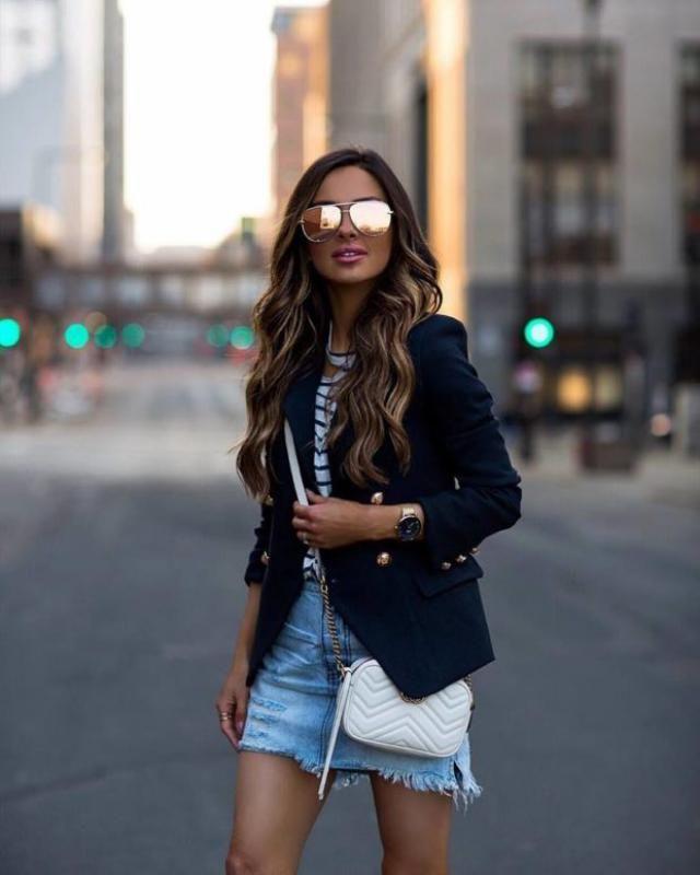 Denim Skirt  Blue Top denim skirt and striped t-shirt,buy here ,online shop ,best of ZAFUL!!!