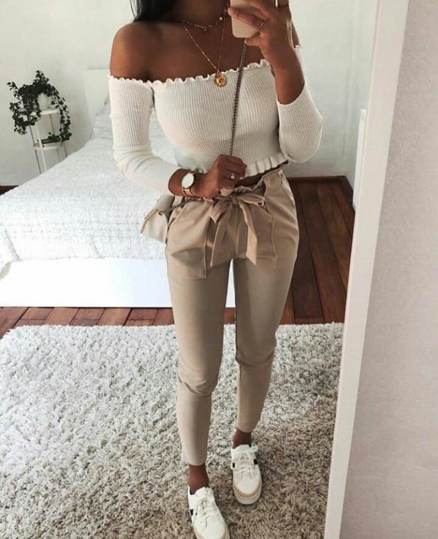 keep it simple and chic with this beautiful off shoulder top and this cute khaki pants