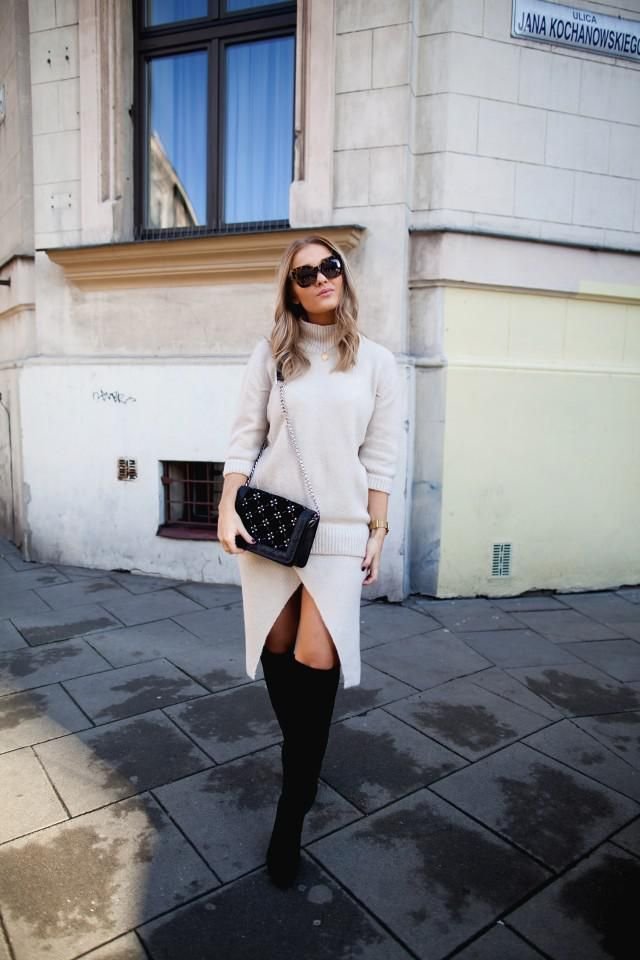 Turtleneck Sweater White And Boots Pretty white turtleneck sweater and boots ,only in ZAFUL!!! Buy here,online shop !…