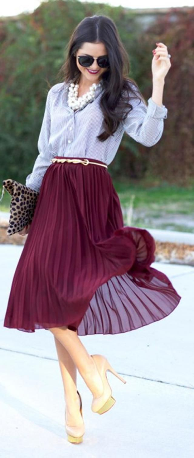 Pleated Wrap  Midi Skirt  Red Wine