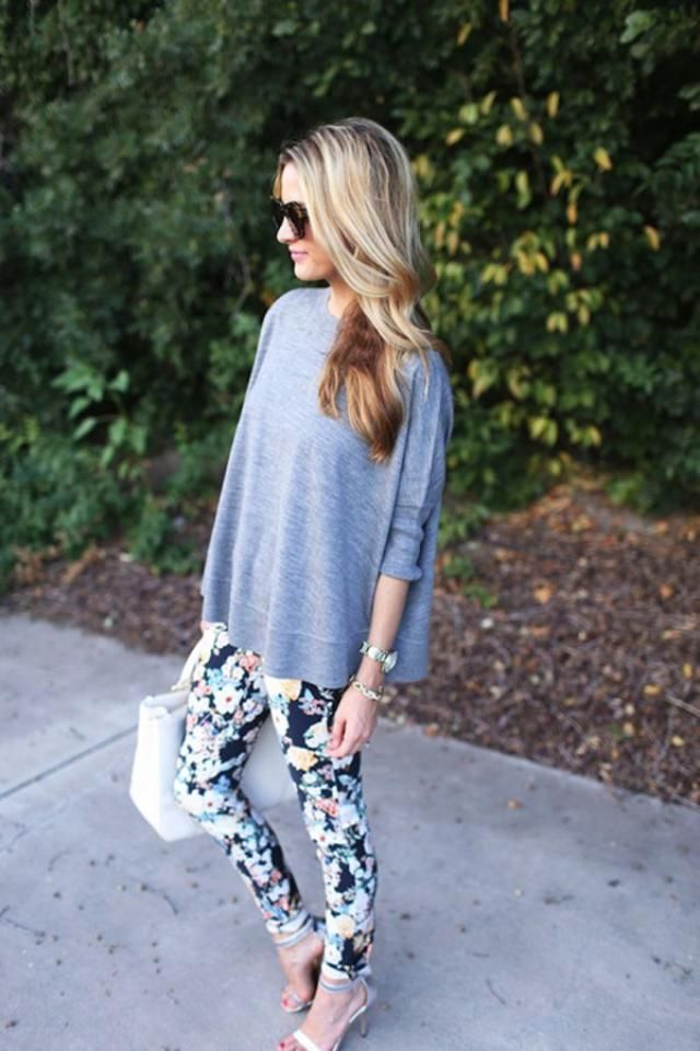 Floral leggings and gray t- shirts