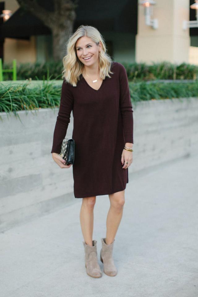 V Neck Drop Shoulder Knit Slit Dress Warm and comfortable dressfor autumn  in ZAFUL,buy here,online shop!!!          …