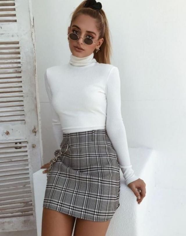 Have your style, mini skirt and sweater so sweet