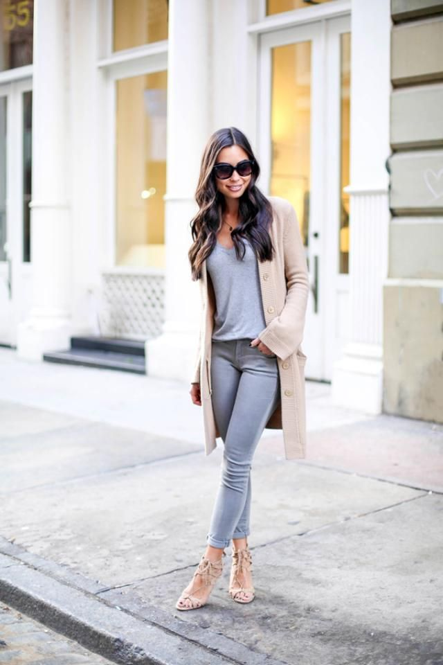 Open Front Cardigan And Pants Gray