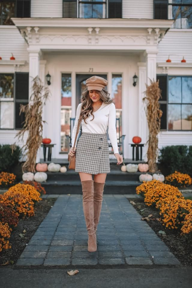 Overlay Checked Skirt And Roll Hem V Neck Knitwear  White Beautiful mini skirt and white top and hat,buy here,online s…