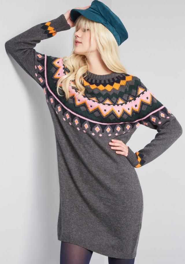 Sweater-dress can be worn in many ways