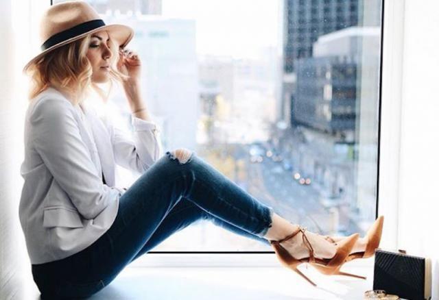 Jeans  Denim Dark Blue And  Winter Hat  #