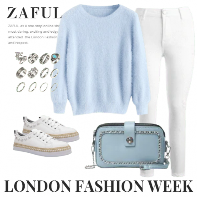 White jeans and sweater blue .