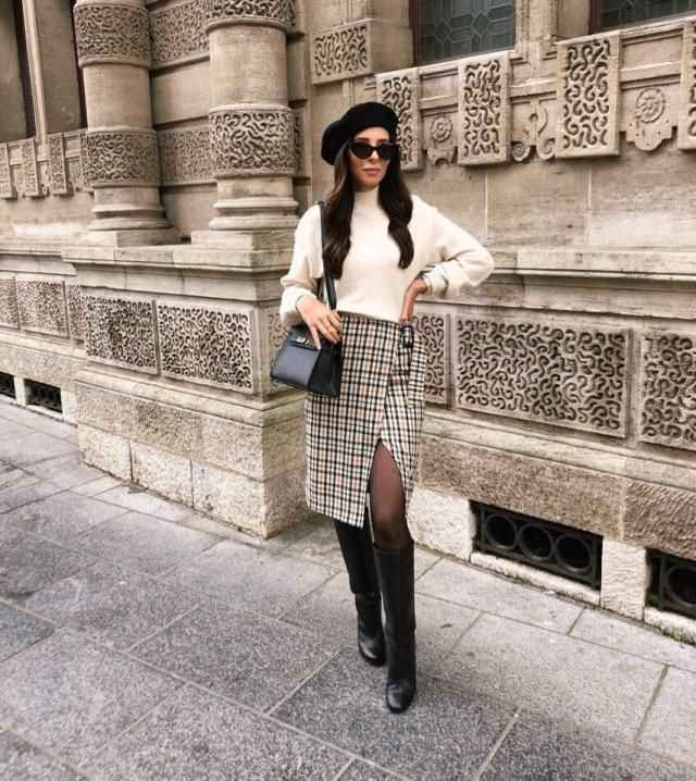 Neutrals are essential to your wardrobe, light beige turtleneck and gorgeous plaid skirt will look gorgeous for formal …