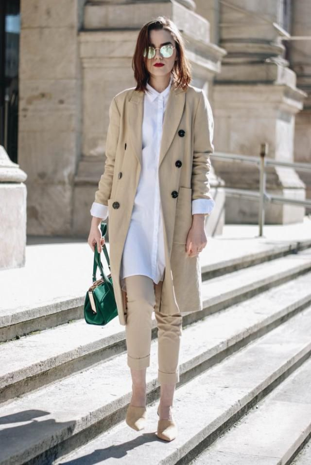 Slit Open Front Longline Trench Coat  Beige