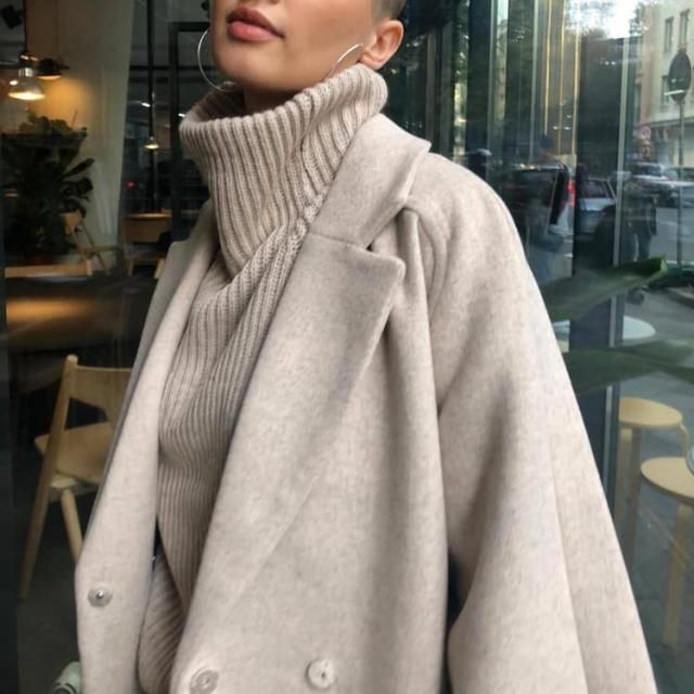 Keep it cool, bright and sweet with an oversized turtleneck sweater in beige with Slit Open Front Longline Trench Coat …