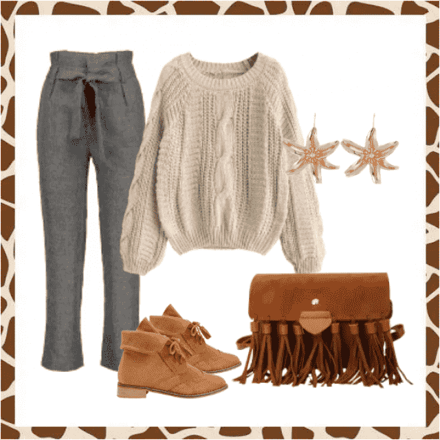 Belted gray pants and beige sweater,buy here,online shop!!! Look here:https://m.zaful.com/join-commission/me.html?uid=…