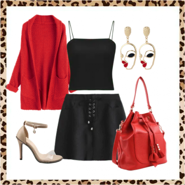 Red cardigan and black mini skirt with top,buy here!