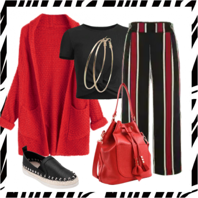 So pefect combination,red cardigan and striped pants with black top.