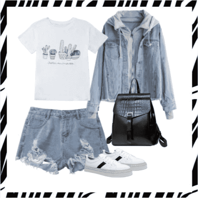 I lovedenim,shorts and jacket with t-shirt ,buy here!