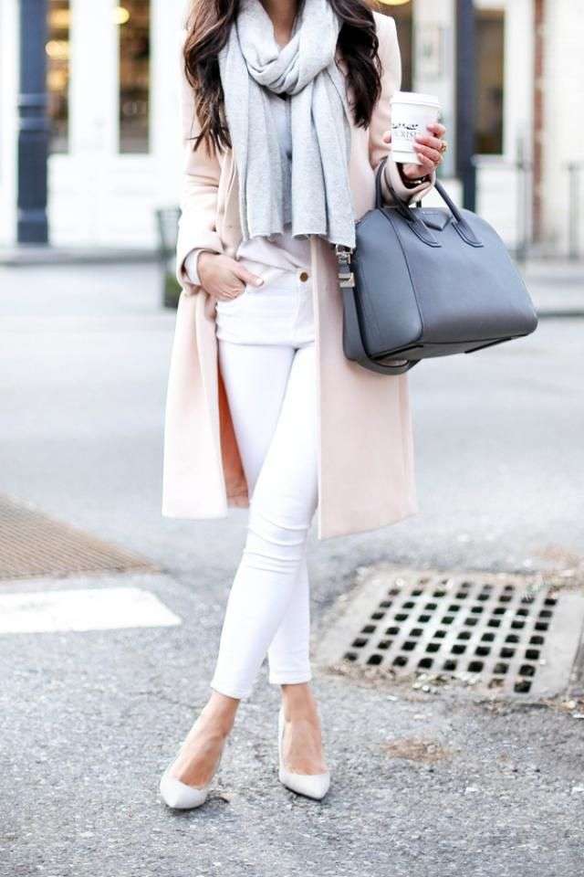 Button Lapel Woolen Long Coat  Pink Perfect pink coat and white jeans with scarf gray cloud,buy here,best of ZAFUL!!!…