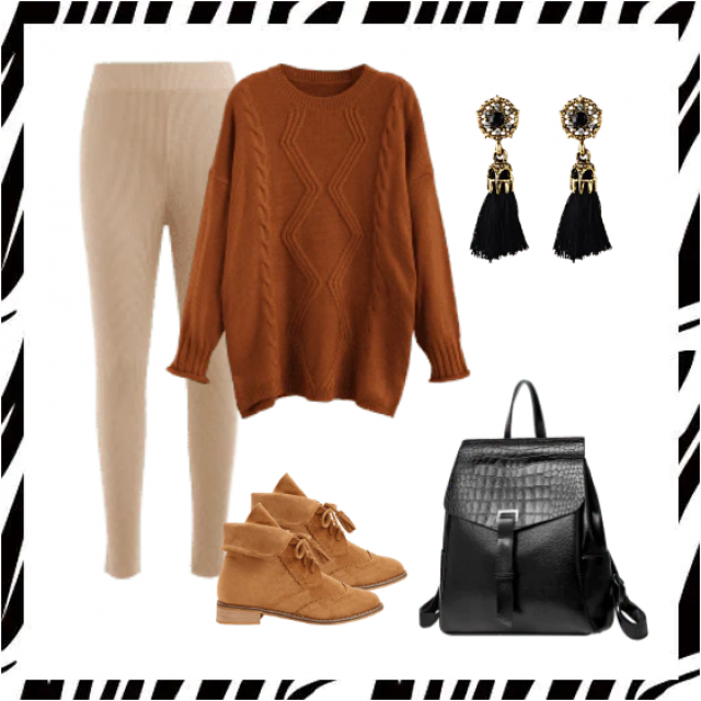 Leggings pants and long sweater brown with boots,buy here!