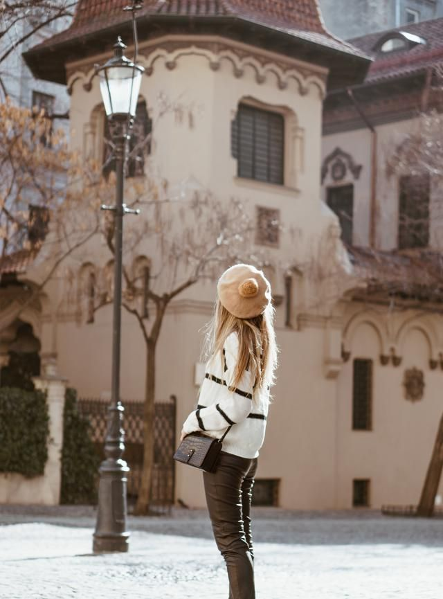 Stripes Sweater White Beautiful stripes sweater with leather pants and beret hat,buy here,best of ZAFUL!!!