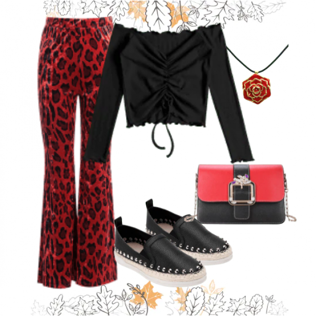 Fashion leopard print pants and black top,bu here,online shop!!! Look here:https://m.zaful.com/join-commission/me.html…