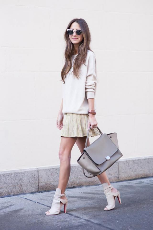 A Line Skirt  Beige And Sweater  Beige  Can you be brave, devil and angel in the same time and use this pure ,beige…