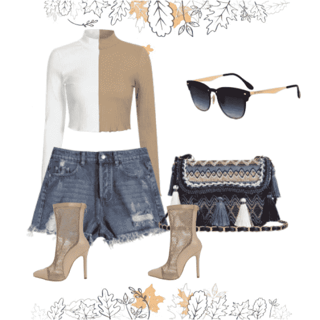 Shorts denim and two tone top,buy here!