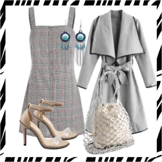 Great plaid dress , coat and sandals,buy here!