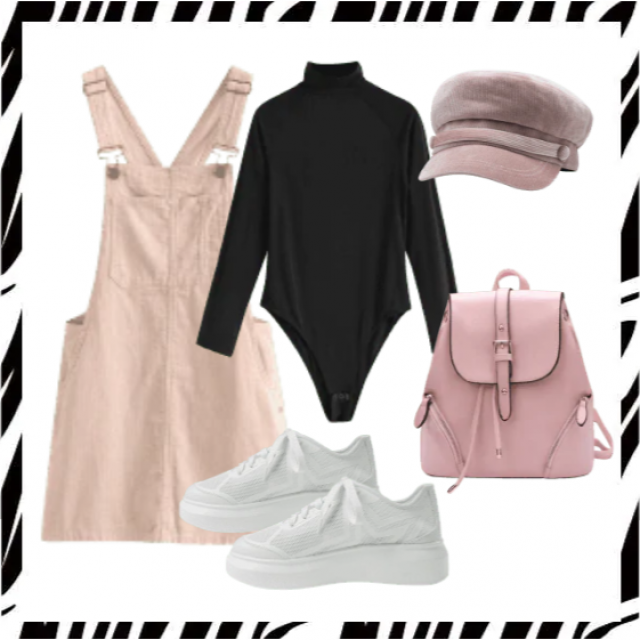 Pinafore dress pink and black bodysuit,buy here!