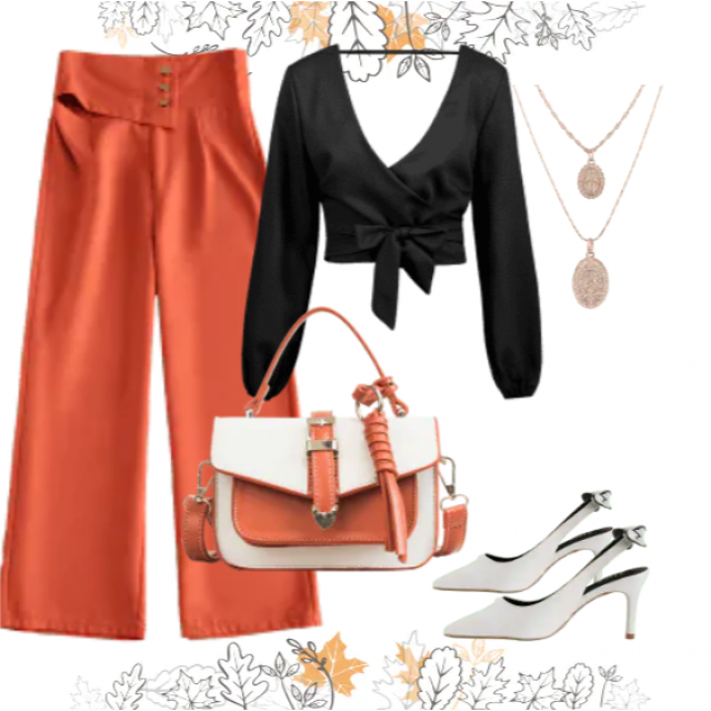 Fashion pants orange and black top,buy here!