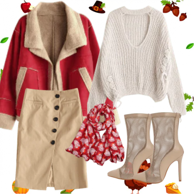 Perfect combination for autumn days, with beige color you can never go wrong, agree with each color, a red jacket with …