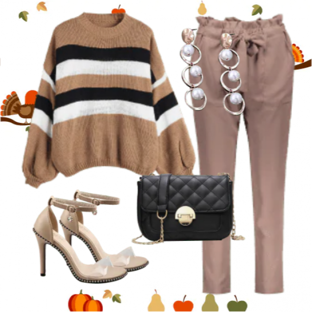 Pretty belted pants and striped sweater ,buy here,online shop,in ZAFUL !