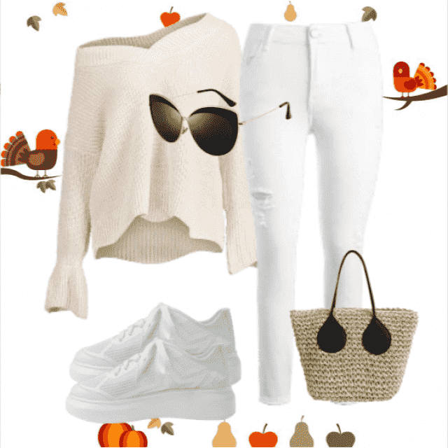 So perfect casual look,white jeans and  sweater beige !Beige outfit is perfeck for all styles and occasions!