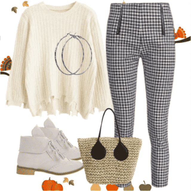 Perfect beige outfit! So stylish and perfect look ,beige swater with combination plaid pants!