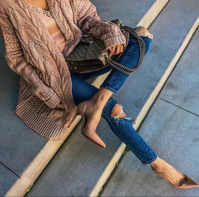 Dark Wash Skinny Ripped Jeans - Denim Dark Blue