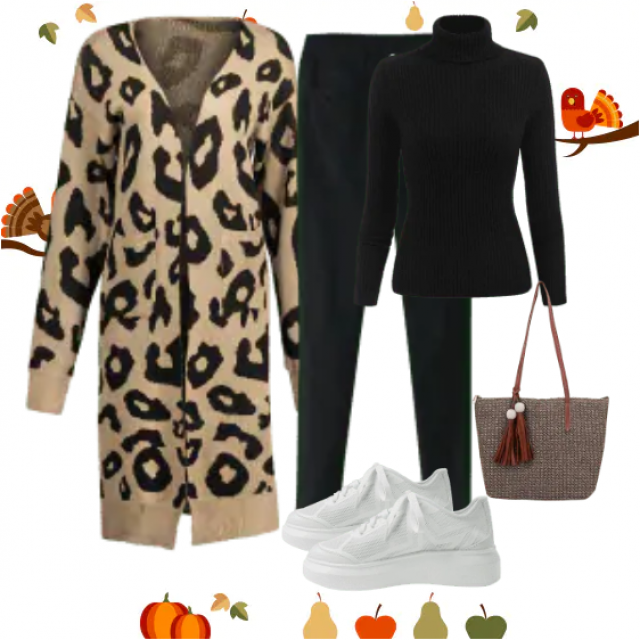 Long leopard cardigan with pants and turtleneck sweater black,buy here,ZAFUL is the best!!! Look:https://m.zaful.com/j…