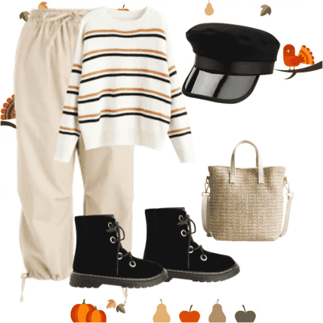 Perfect  look with beige pants and striped sweater and beige bag.Beige pants and black boots with striped sweater the …