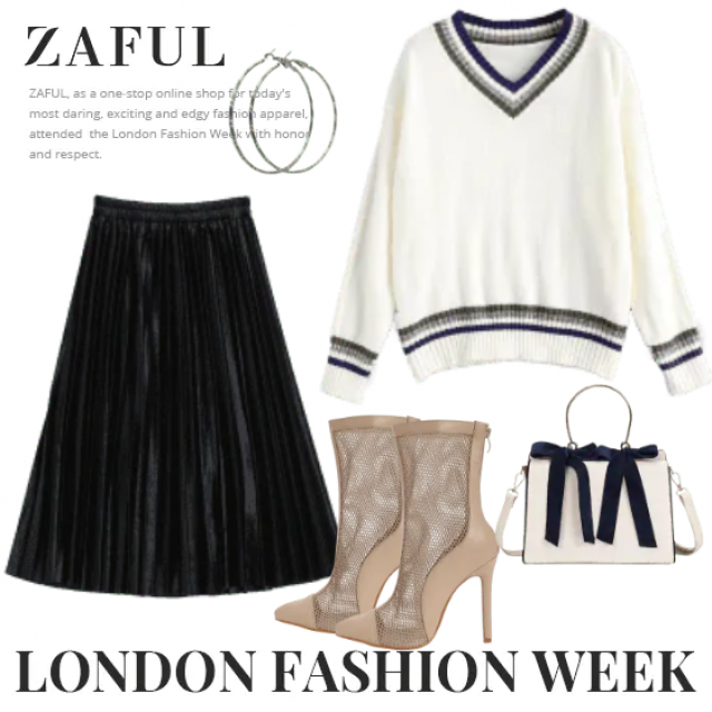 Elegant skirt with V-neck sweater and bag ,buy here,ZAFUL is the best!!! Look:https://m.zaful.com/join-commission/me.h…