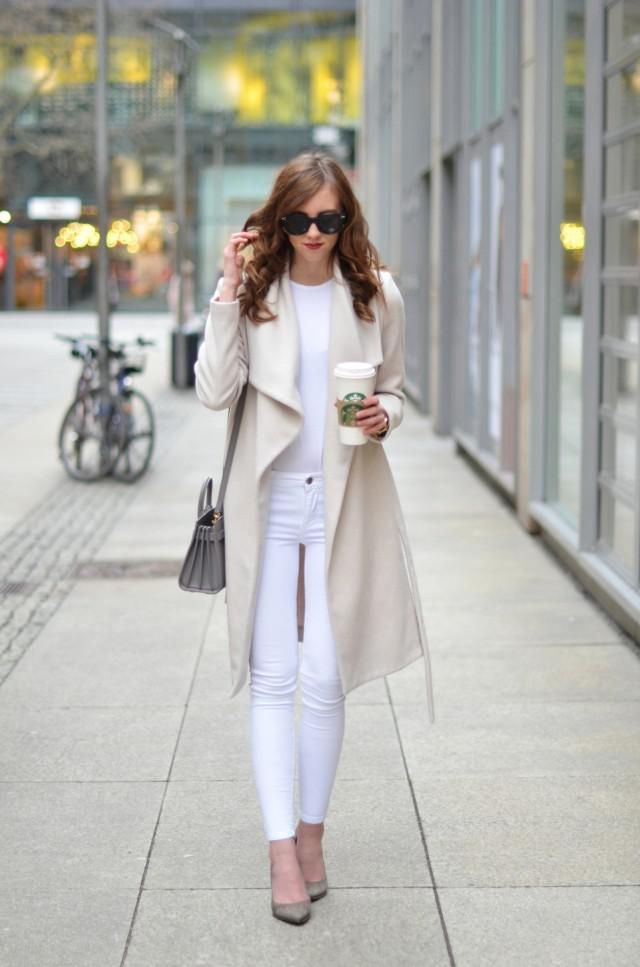 Lapel Collar Fluffy Fleece One Button Coat  Warm White